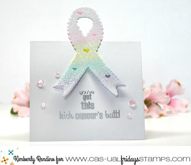 cancer awareness | encouraging card | encouragement | handmade card | cardmaking | papercraft | calling all sistahs | cas-ual fridays stamps | clear stamps | awareness ribbon | kimpletekreativity.blogspot.com
