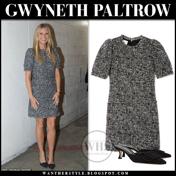 Gwyneth Paltrow in black and white tweed mini dress hollywood style january 24