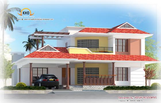 Nice duplex house elevation  - 242 Square Meter (2600 Sq. Ft.) - December 2011