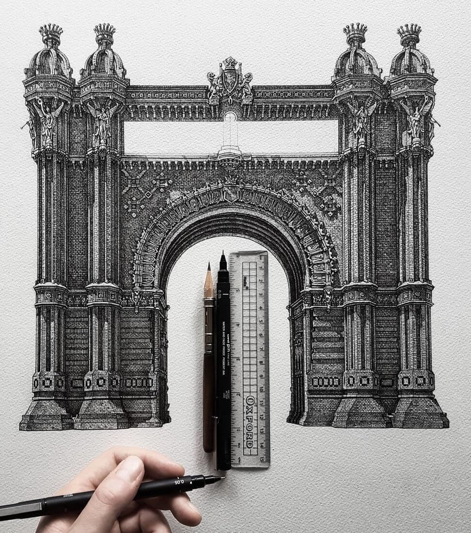 01-Arc-de-Triomf-Barcelona-Liam-Hipple-Complexity-in-Architectural-Drawings-www-designstack-co