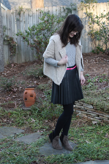 2017, winter, OOTD, leather, stripes, pink, J.Crew,