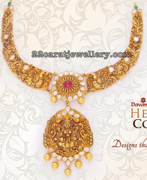 22 Carat Gold Peacock Nakshi Kante by Davanam