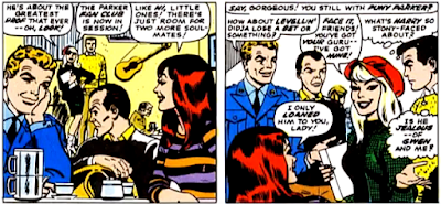 Amazing Spider-Man #53, john romita, mary jane watson, flash thompson and harry osborn are sat in the coffee bean when peter parker and gwen stacy arrive
