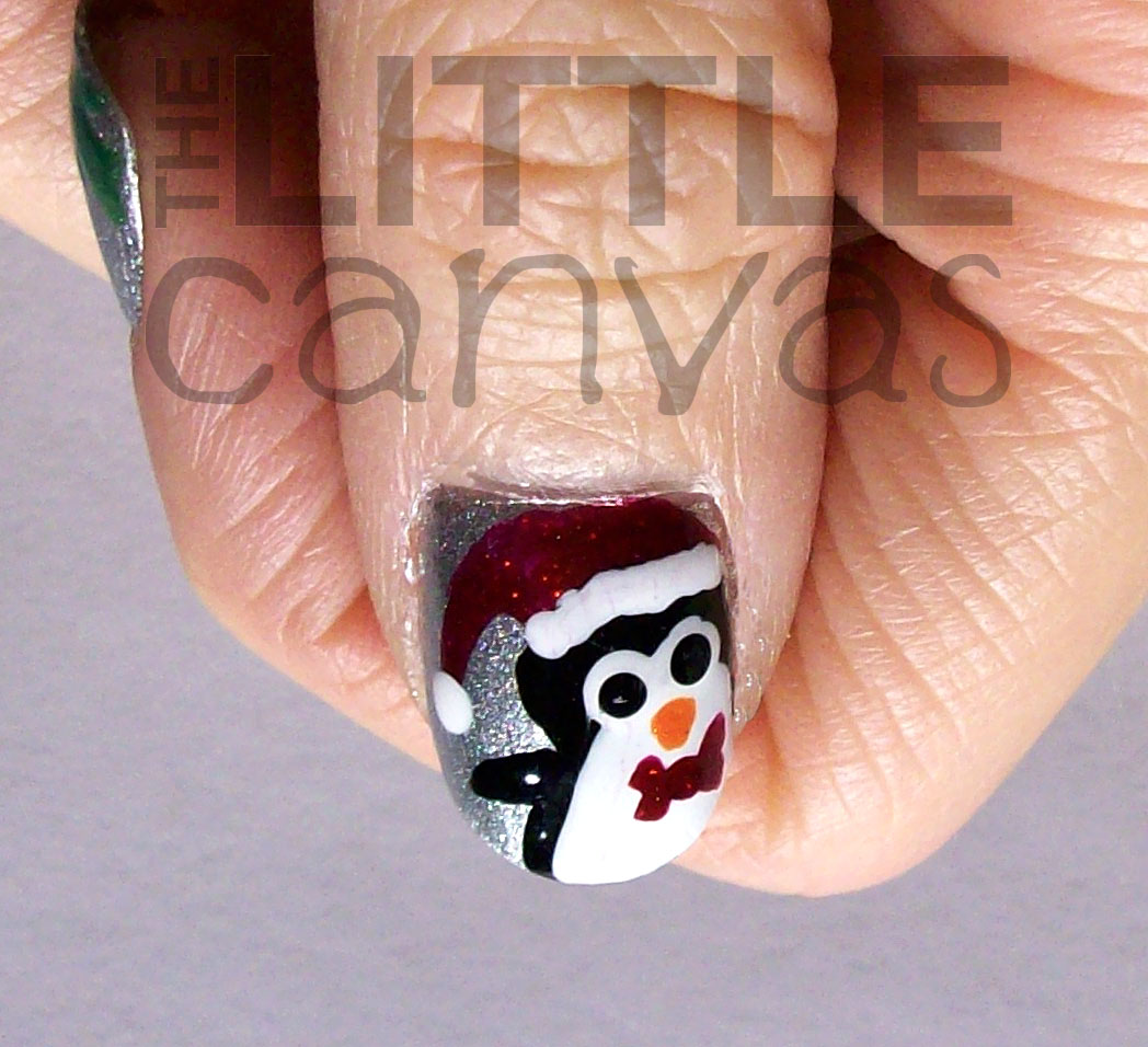 Penguin And Holly Nail Art The Little Canvas