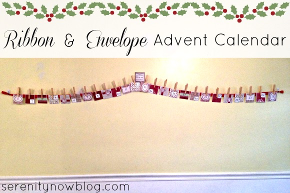 DIY Ribbon and Envelope Advent Calendar from Serenity Now blog