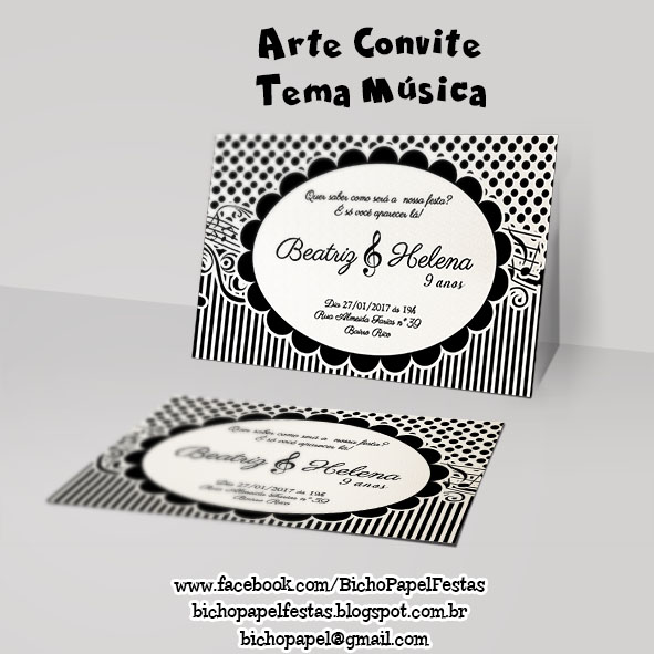 Convite Tema Música preto e branco
