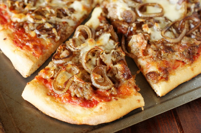 Sausage & Balsamic-Caramelized Onion Pizza ~ a fabulously delicious & unique pizza flavor combination!   www.thekitchenismyplayground.com