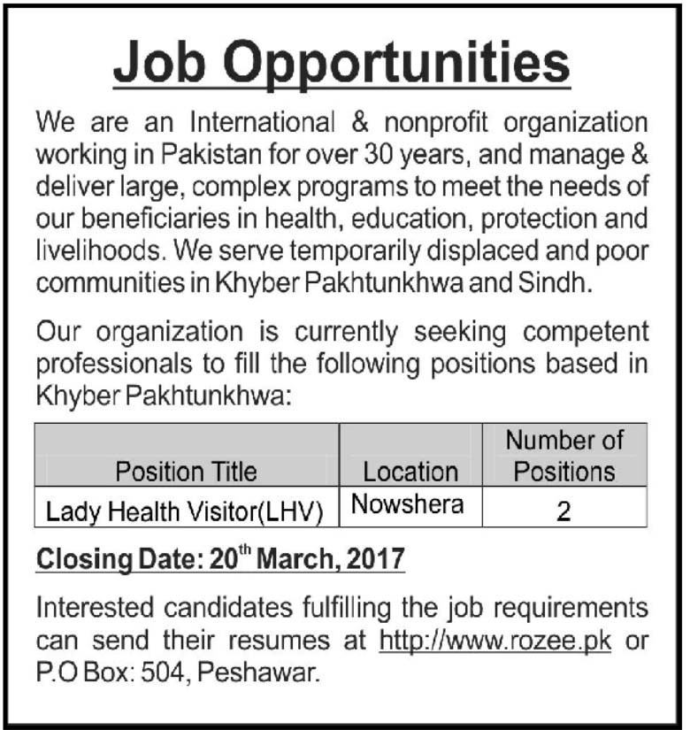 Jobs Lady Health Visitor Nowshera International & Nonprofit Organization