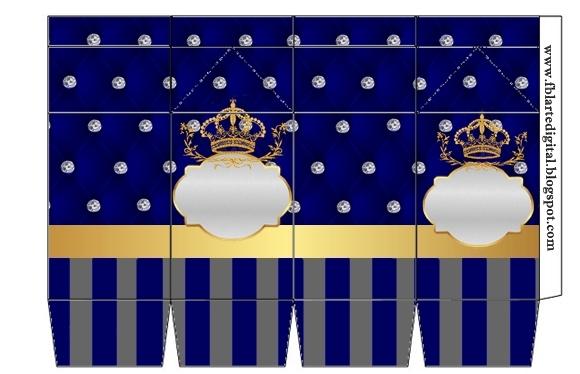 """Caja tipo """"de leche"""" de Corona Dorada en Azul y Brillantes."""