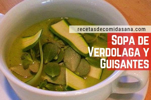 Receta de sopa de verdura con verdolaga y guisantes, fácil de hacer