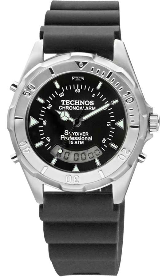 5a9244e010b3c Relógio Technos Skydiver Professional T20562 8A Pulseira Silicone Azul
