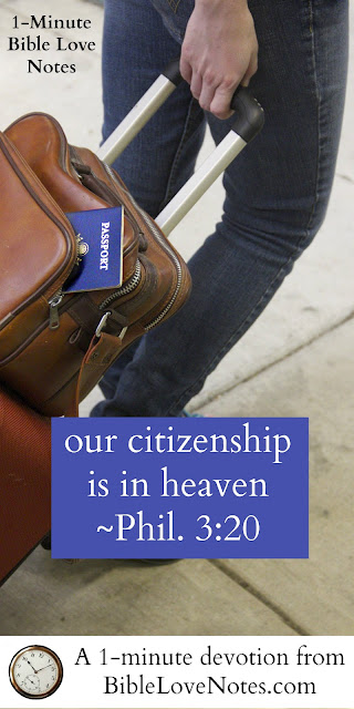 Hebrews 11:131-6, John 16:33, Matthew 6:19-20, Christians are not citizens here on earth