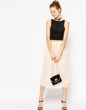 Chevron Pleated Midi Skirt, $76.24 from ASOS