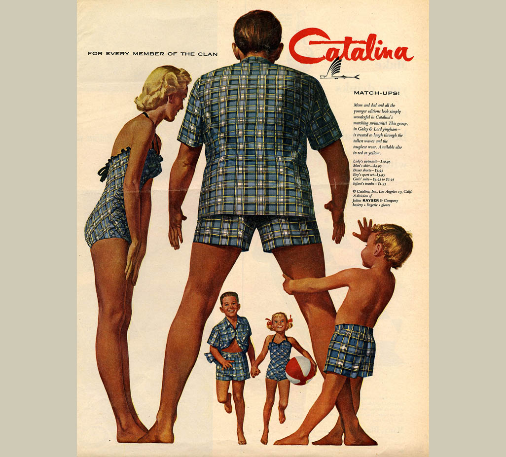 6f836abbbd3b Labels: American family, Catalina Swim trunks, children, seen from behind
