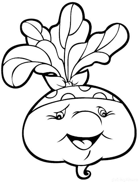 Gambar Mewarnai Sayur Lobak
