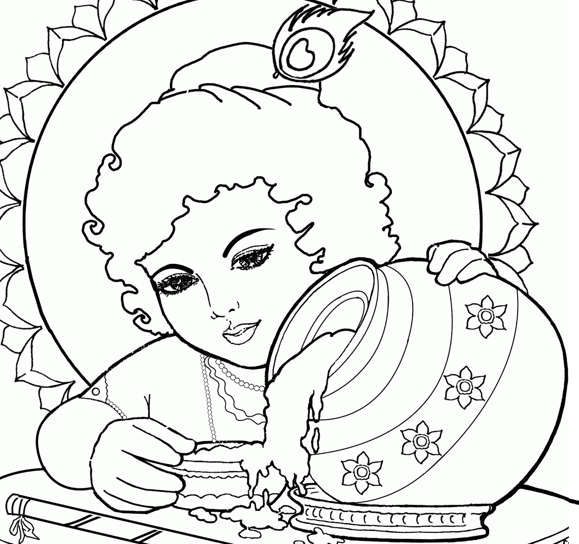 Lord baby krishna coloring drawing free wallpaper for Coloring pages of krishna