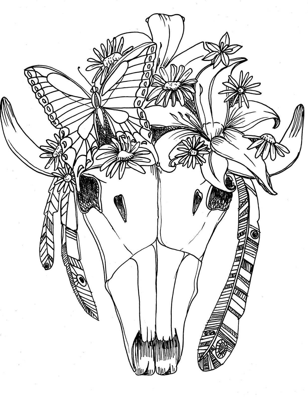 Texas longhorn skull coloring pages for Longhorn coloring page