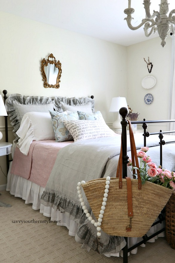 Savvy Southern Style : Gray and Pink French Style Bedroom