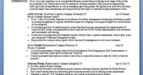 how to write a good resume for a business analyst in word