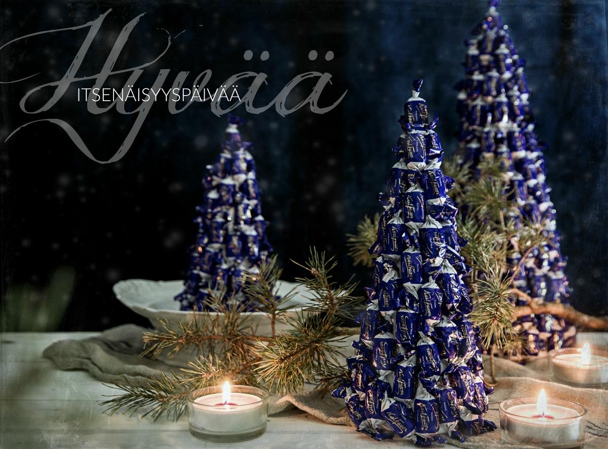 suomi100v, itsenäisyyspäivä, Fazer, suklaa, Fazerin sininen, diy, kuuset, joulu, koristelu, valokuvaus