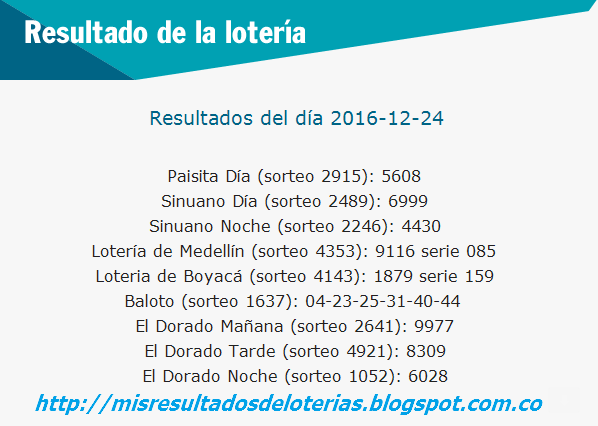 Resultado del dia de la Lotería-diciembre-24-2016