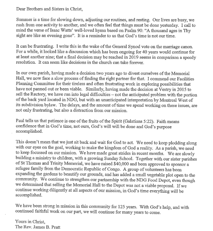 St Philip s Anglican Church Father Jim s Summer Letter 2016