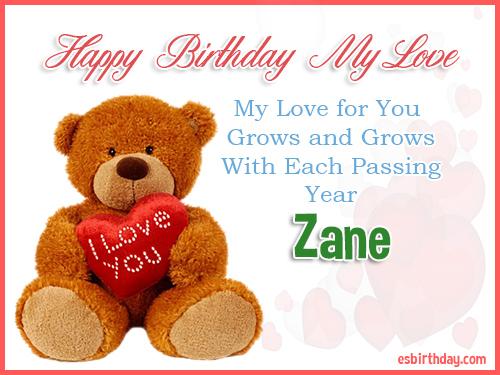 Zane Happy Birthday My Love