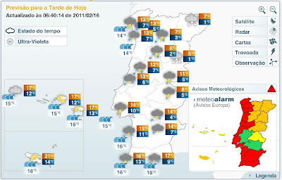 mapa meteorológico portugal Gerotempo: 3392. PORTUGAL CONTINENTAL: Tarde muito instável mapa meteorológico portugal