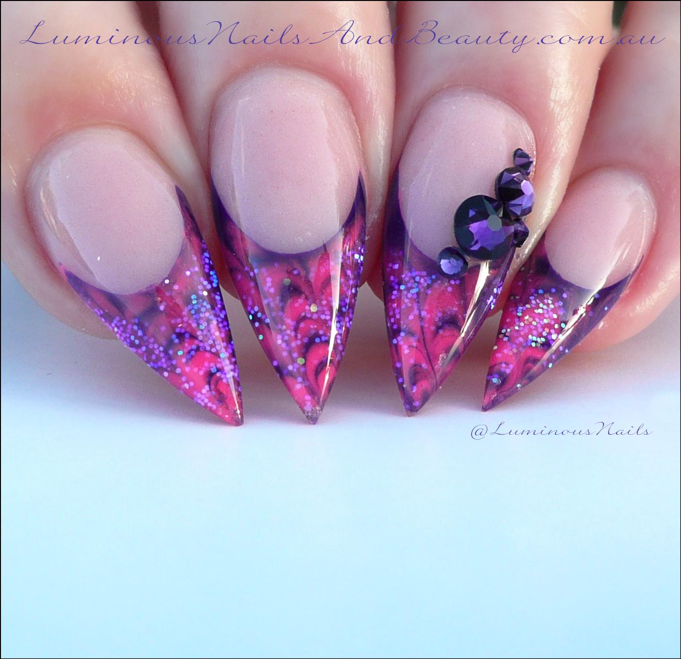 Luminous Nails: Marbleised Hot Pink & Purple Gel Nails.