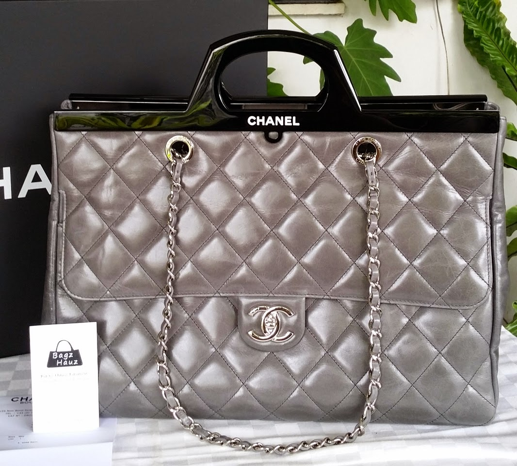 e9008af31a32 CHANEL A92580 CC Delivery Large Shopping Tote with Rigid handles - Color:  Grey ~ For QQ Chanel Lover ~