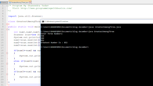 Java Program To Find Greater Number. Among Given Three Number