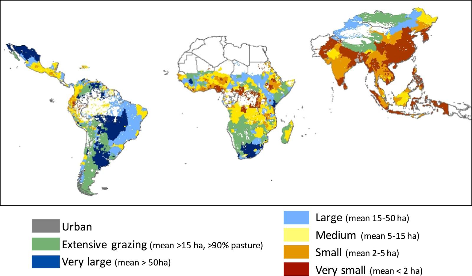 Mean farm size across world