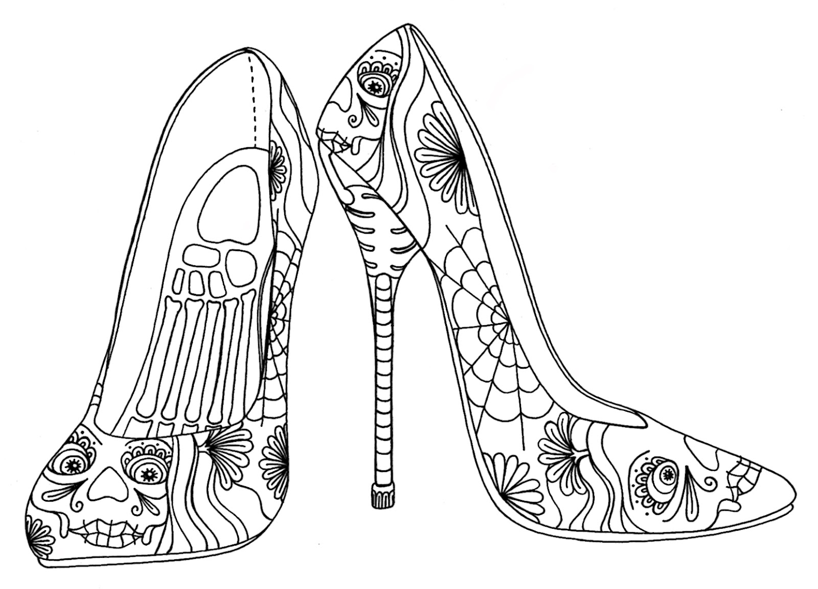 Easy Coloring Of High Heels Coloring Pages