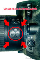 Graphic of where you might find the vibration reduction switch on your camera by Cramer Imaging