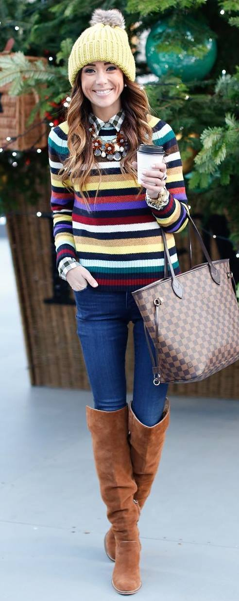how to style a stripped sweater : yellow hat + plaid shirt + bag + skinnies + over knee boots