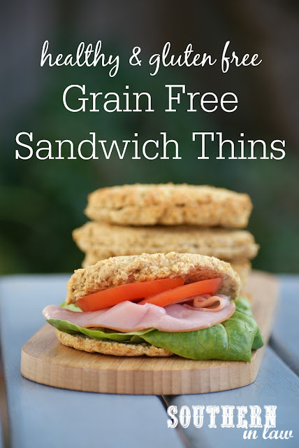 Healthy Grain Free Sandwich Thins Recipe | healthy paleo bread recipe, low carb, low fat, gluten free, grain free, high protein, clean eating friendly