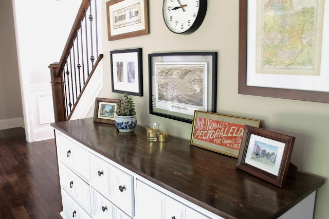 vintage painted dresser, gallery wall, maps