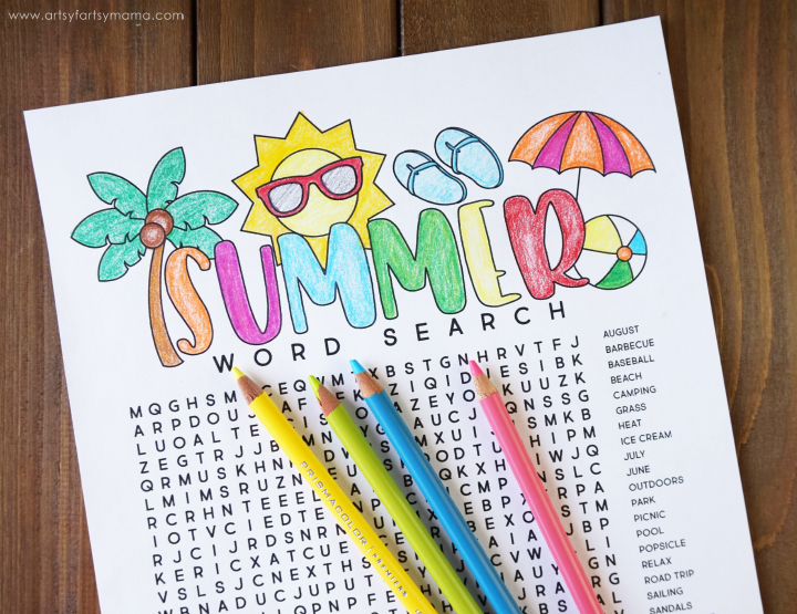Welcome summer with this Free Printable Summer Word Search Coloring Page!