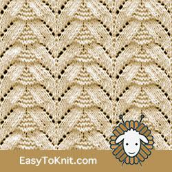 Eyelet Lace 42: Fir Tree   Easy to knit #knittingetitches #eyeletlace