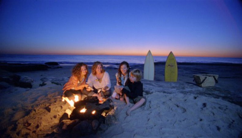 family beach bonfire