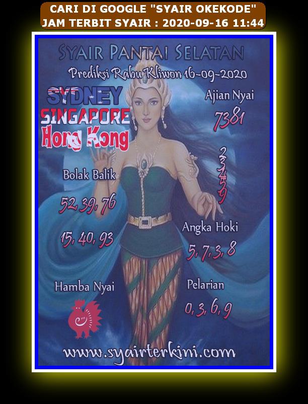 Kode syair Hongkong Rabu 16 September 2020 278