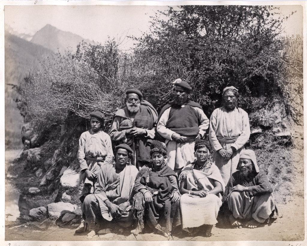 Group Photo of Native Indians, Kullu, Himachal Pradesh - c1870's