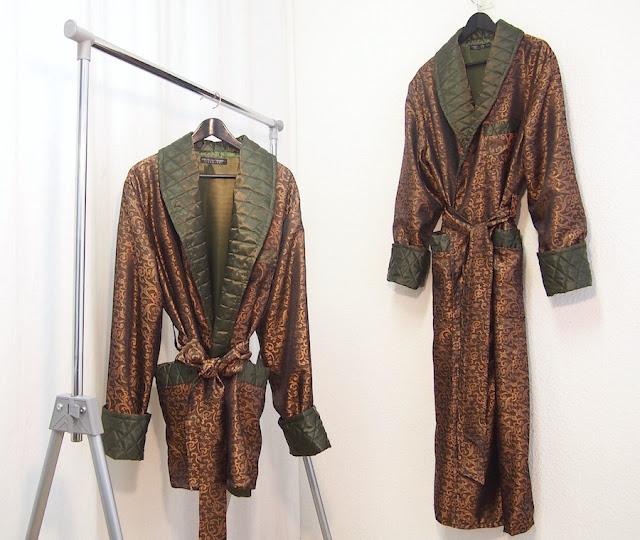 gold green long silk house robe copper terracotta jacquard satin quilted shawl lapel long short dressing gown smoking jacket gentleman