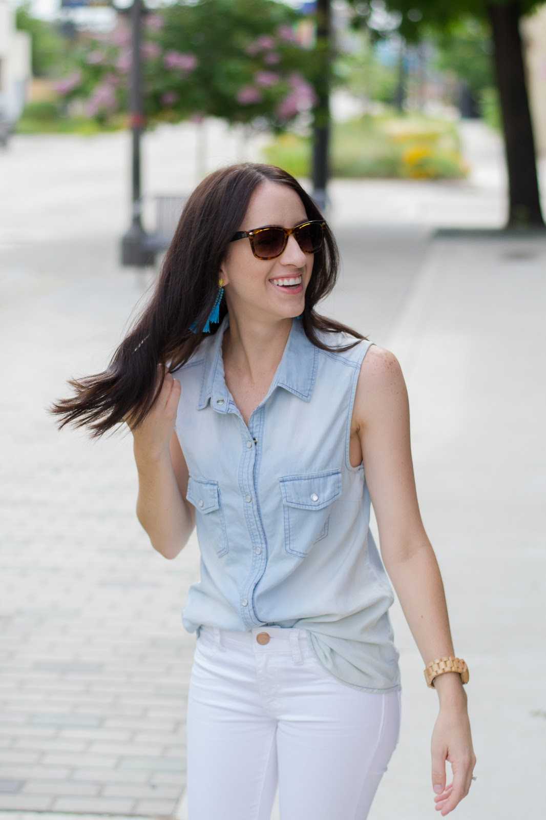 Pairing colorful tassel earrings with basic chambray top for a casual day look.