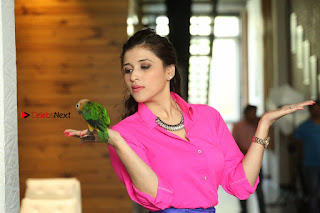Actress Mannar Chopra in Pink Top and Blue Skirt at Rogue movie Interview  0226.JPG