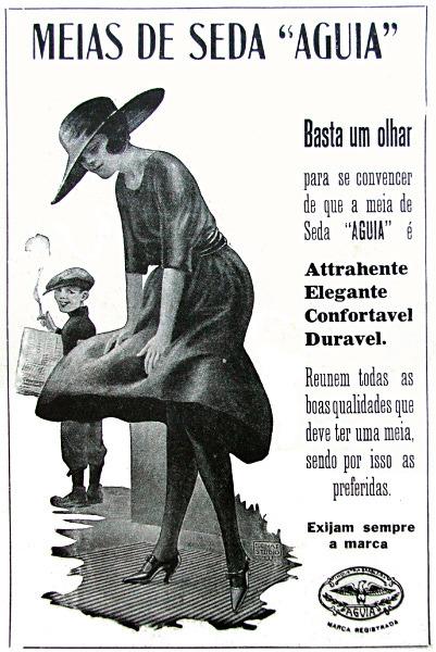 Propaganda antiga de 1923 que buscava promover as meias de seda da marca Águia
