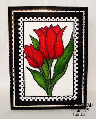 Our Daily Bread Designs Stamp Set: Tulips, Custom Dies: Tulip, Circle Scalloped Rectangles, Pierced Rectangles