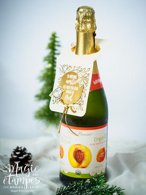 Carte pour bouteille de vin Stampin' Up! avec le jeu d'étampes Plumes et givre