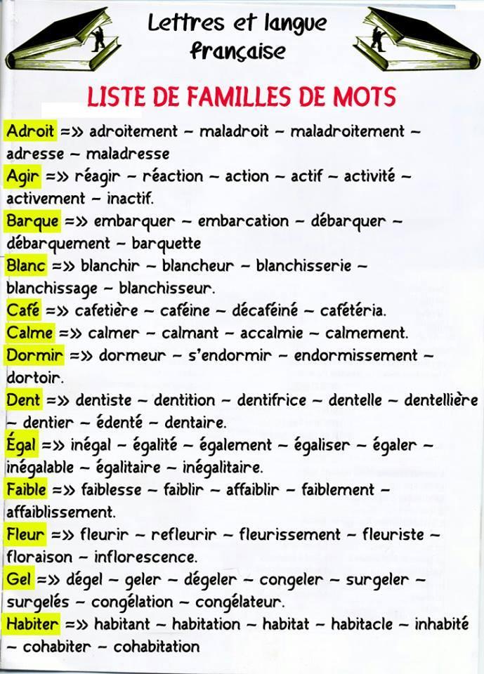 Liste de familles de mots