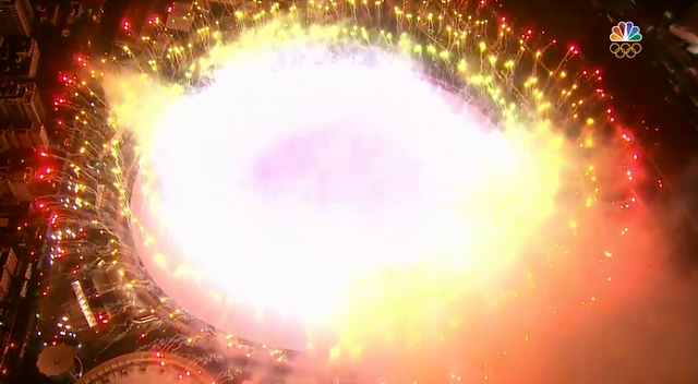 Explosion fireworks aerial view shot Rio 2016 Olympic Games Closing Ceremony party end
